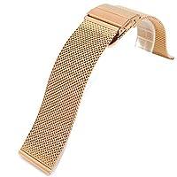 [エイト] 腕時計用 メッシュステンレスベルト イエローゴールド 22mm EMSB202 [並行輸入品]
