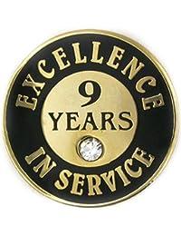 PinmartのゴールドメッキExcellence inサービスエナメルラペルピンW /ラインストーン – 9年 10 ゴールド