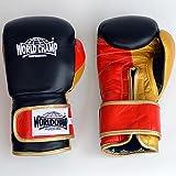 ワールドチャンプ ボクシンググローブ(マジックテープ式) エルコンドル (ブラック・ゴールド, 16oz)