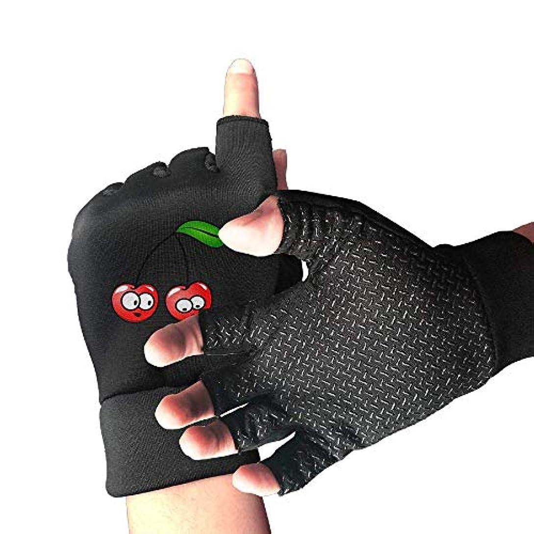医薬体現するにはまってCycling Gloves Cherry Cartoon Men's/Women's Mountain Bike Gloves Half Finger Anti-Slip Motorcycle Gloves