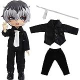 rakulifey オビツ11服 OB11用衣装セット シャツ ズボン ネクタイ付き 可愛3点セット (ブラック長袖)