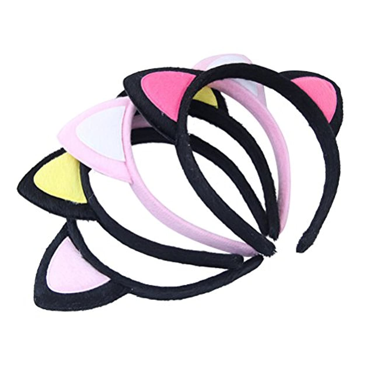 近々厚さ紳士Beaupretty 4Pcs Cat Ears Headbands Cute Plush Headband Hair Hoop Headdress for Girls