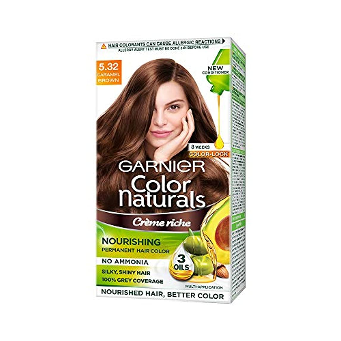 ブリリアント第五自治的Garnier Color Naturals, Shade 5.32, Caramel Brown 70ml+60g