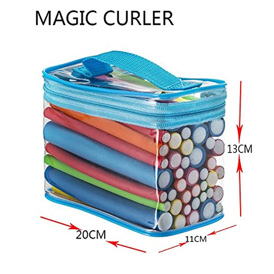 繊維まさに有効化Liebeye ヘアスティック 柔軟 カーリング ロッド 7つのサイズ ヒートフリー ポケット付き 42個