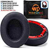Wicked Cushions Upgraded Beats Replacement Ear Pads - Compatible with Studio Wired B0500 / Wireless B0501 / Studio 2 and Studio 3 Over Ear Headphones ONLY (Does NOT FIT Beats Solo) | Black