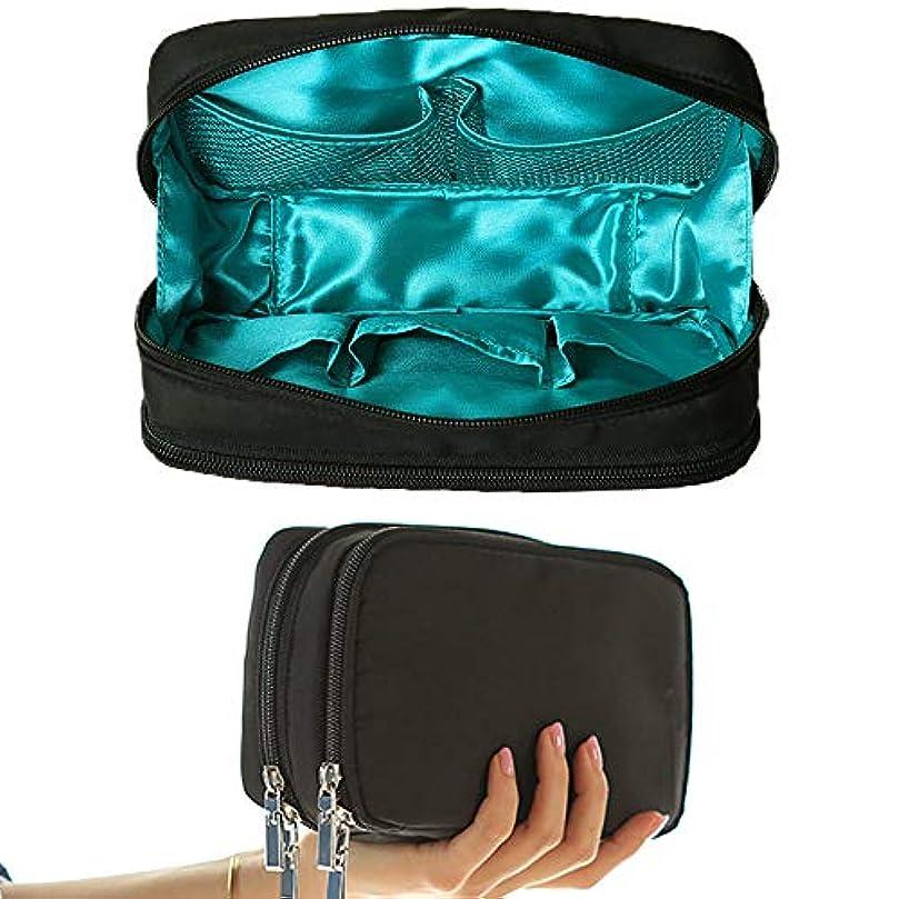 ショルダー繊毛ジョリーtu meme 化粧ポーチ コンパクト メイクポーチ 大容量 機能的 多機能 バッグ ブラシ入れ付き 収納 旅行 (Black×Mint)