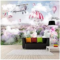 山笑の美 新鮮でシンプルなスカイプレーンシュートラベンダー壁画壁壁紙壁画カスタム写真壁-200X150CM