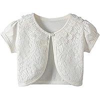 SMDPPWDBB Girls Long Sleeve Bolero Cardigan Shrug Beaded Lace Cotton Flower Jacket Shrug Short Cardigan Dress Cover Up