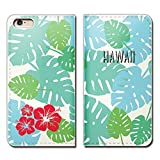 Tiara iPhone7 (4.7) iPhone7 スマホケース 手帳型 ベルトなし HAWAII 旅行 海 ハイビスカス 手帳ケース カバー バンドなし マグネット式 バンドレス [EB10601_03]