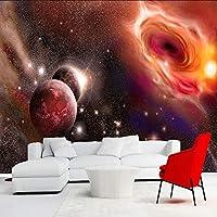 Lixiaoer カスタム3D写真の壁紙美しい宇宙星空銀河大壁画壁絵画壁紙用リビングルームの寝室-280X200Cm