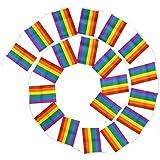 SODIAL 5メートルレズビアン平和lgbtレインボーゲイプライドサポーターフラグカラフルなフェスティバルホオジロフラグ20フラグパーティーの装飾バナー