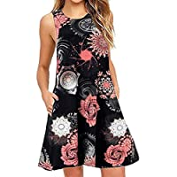 Cheap Women's Summer Casual Sleeveless Floral Printed Swing Dress Sundress with Pocket