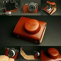 本革Cowレザーケースバッグカバーfor Nikon v1MP DSLRカメラ+ 10mmレンズ2パーツブラウン色