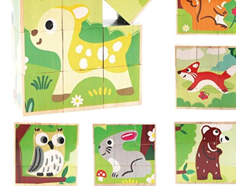 HuaQingPiJu-JP 創造的なデザイン木製の漫画のパズルアーリーラーニング番号の形の色の動物のおもちゃ子供のための素晴らしいギフト(森林)