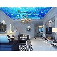 Wuyyii 3D部屋の壁紙カスタム壁画海洋世界イルカピーク設定壁装飾天井壁画写真壁紙用壁3D