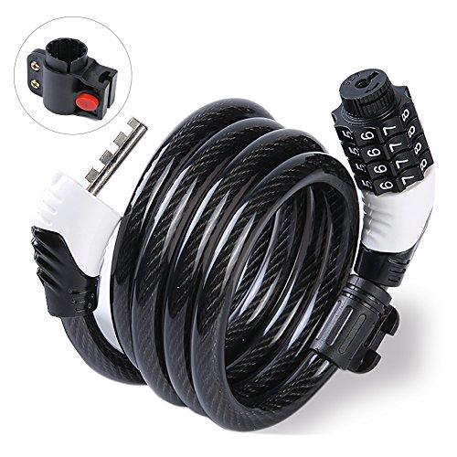 自転車ロック バイク ダイヤル式ワイヤーロック 自転車 ケーブルロック パスワード自由設定型 4桁 長1200mm φ10mm 軽量 コンパクト (ホワイト)