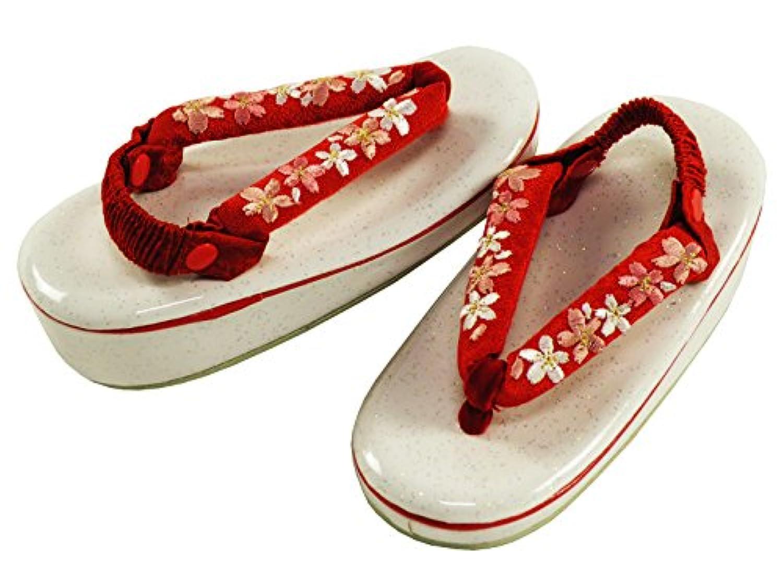 七五三 3歳用 女児 桜の刺繍入り ラメ入り 草履 かかと止め付き 18cm