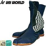 ユニワールド/先芯入り作業靴 地下足袋/樹脂先芯入 縫付地下足袋 ファスナータイプ カラー:紺 サイズ:24.5cm 品番:200
