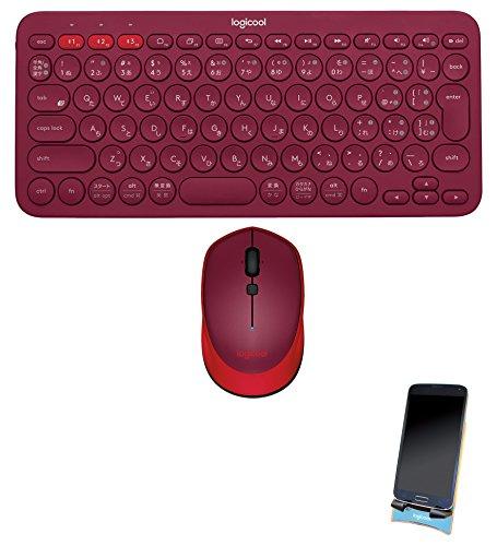 【Amazon.co.jp限定】LOGICOOL Bluetooth マルチデバイス キーボード K380   マウス M336   スタンドセット K380RD M336RD スマホスタンド