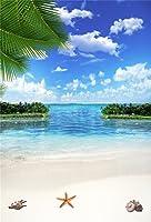 aofoto 3x 5ft海ビーチ写真背景Seasideブルースカイ雲Backdrop Tropical Islandヒトデシェル大人Kid Lovers Artistic Portrait Holiday Photoshoot Studio Propsビデオドレープ壁紙