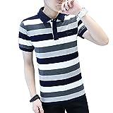 (ハイハート)Hiheart ポロシャツ メンズ 半袖 ラガーシャツ ボーダー柄 シャツ ゴルフウェア 通気性 吸汗速乾 大きいサイズ (M,グレー)