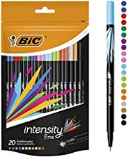 BIC Intensity Fineliner Felt Tip Pen Fine Point (0.8 mm) - Assorted Colours, Pack of 20 Fineliner Pens