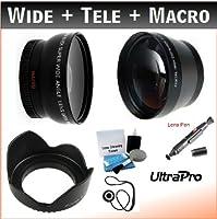 UltraPro 37mm Essentialレンズキット, Includes 2x望遠レンズ+ 0.45X HD広角レンズW/マクロ+ Proレンズフード+レンズクリーニングペン+レンズキャップキーパー+ Ultraproデラックスレンズクリーニングキット。For the JVC Everio gz-hm550、hm320、hm300、hm340フラッシュメモリビデオカメラ。