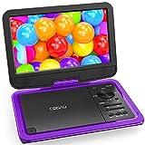 ポータブル DVDプレーヤー 10.5インチ COOAU 高画質液晶 大容量充電式バッテリー 5時間連続再生 270°回転 車載 軽量 リージョンフリー CPRM/USB/SD/MMC対応 AV入出力 リモコン&日本語説明書付き 一年保証 紫