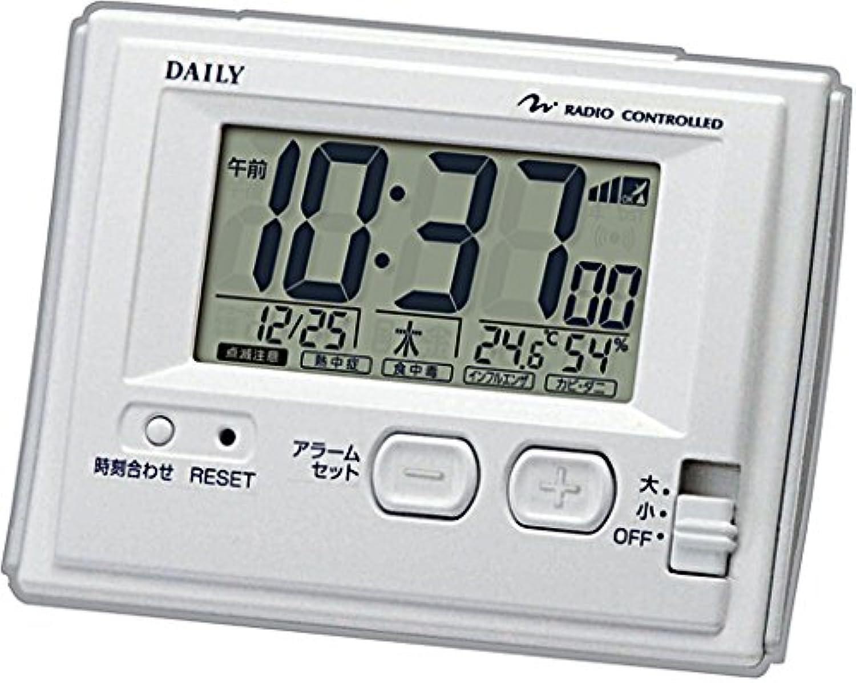 リズム時計 目覚まし時計 電波 デジタル ジャストウェーブR126DN 温度 湿度 カレンダー 表示 環境目安機能付き 白 DAILY (デイリー) 8RZ126DN03