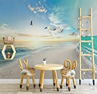 Wkxzz カスタム3D写真壁紙ビーチ海空自然風景リビングルーム寝室背景紙壁画-120X100Cm