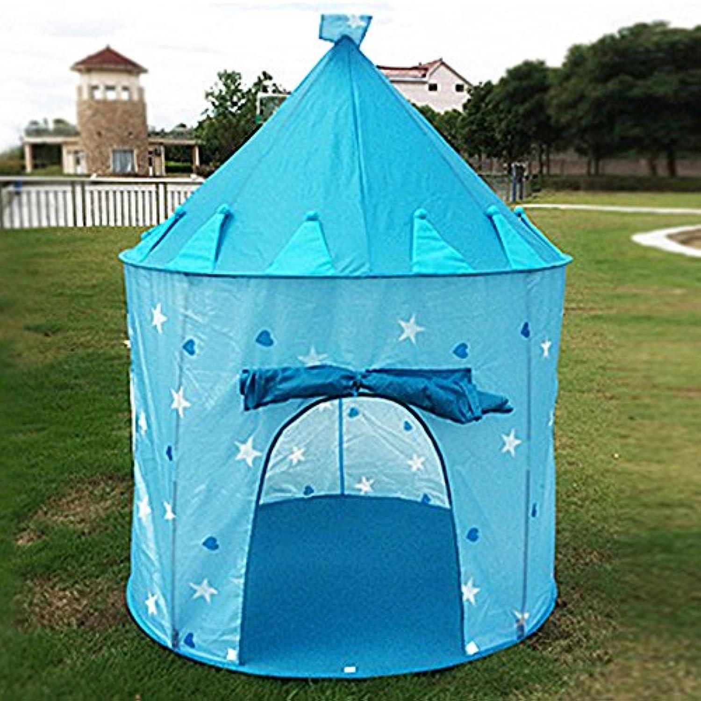 T -子供ゲームテントピンクとブルーピーチハートパターンラウンドインドアとアウトドアYurtsテントおもちゃIT CONTAINSのみAテント ブルー