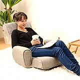 UNE BONNE(ウネボネ) 低反発 肘掛座椅子 リクライニング フロアチェア 14段リクライニング 180度フルフラット フロアチェア 1人掛け 肘掛つき 合成皮革 FABRICグレー