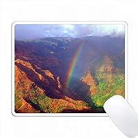 アメリカ、ハワイ、カウアイ。ワイメア渓谷の上の虹。 PC Mouse Pad パソコン マウスパッド