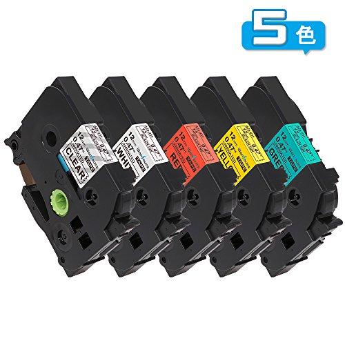 ピータッチ テープ 12mm ブラザー工業 5色セット P-Touch テープカートリッジ tze テープ tze-131 tze-231 tze-431 tze-631 tze-731 互換品 長さ8m