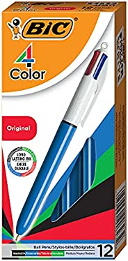 BIC MM11 4 Colours Original Retractable Ball Pen Medium Point (1.0 mm) - Box of 12 Pens