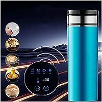 カーヒーティングカップ、トラベルカーヒーティングケトル、液晶ディスプレイ、12V / 24Vインテリジェントサーモスタットカップ、コーヒー/ミルクパウダー,Blue