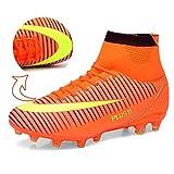 Socone メンズ サッカースパイク サッカートレーニングシューズ soccer 超軽量モデル オレンジ 255