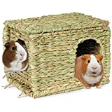 SunGrow Guinea Pig Grass House, 11.8x7.8x8.2 Inches, Woven Straw Hut for Sleeping and Playing, Stackable and Portable, Provides Security and Comfort to Small Animals, Edible Home with Double Openings