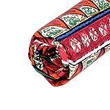 HOUSWEETY リネン 麻 ハンドメイド 裁縫 手芸 アンティーク風 レッド 波紋 布地 96x52cm