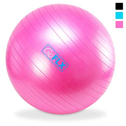 GoFLX バランスボール 75cm ポンプ付 - ヨガ、エクササイズに最適。耐荷重200kgまで対応のエクササイズボール(ピンク)