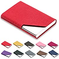 Business Name Card Holder Luxury PU Leather & Stainless Steel Multi Card Case,Business Name Card Holder Wallet Credit Card ID Case/Holder for Men & Women - Keep Your Business Cards Clean (Red) ¡­