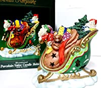 """サンタの記念品ヴィンテージLarge 6""""ハンドペイント磁器キャンドルクリスマスソリwith Illuminatedツリー& Presents Tealight Candle Holder"""