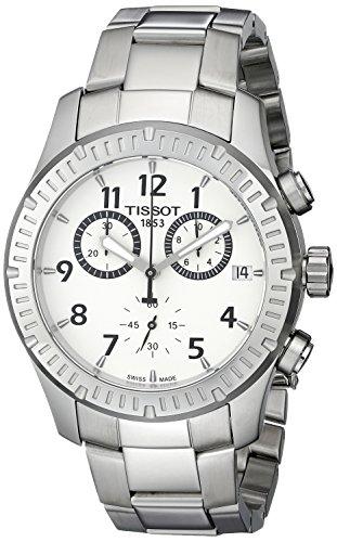 ティソメンズt0394171103700V8アナログディスプレイスイスクォーツシルバー腕時計