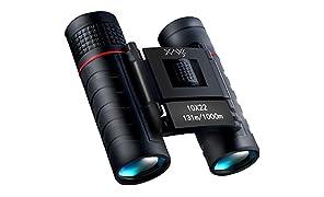 XAXES 双眼鏡 高倍率 10倍 軽量 ミニ 望遠鏡 眼鏡対応 防水 耐雲 ストラップ付 日本語説明書