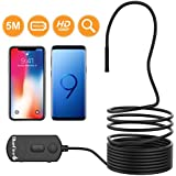 BlueFire 1080P Semi-Rigid Inspection Camera 2 MP HD WiFi Borescope Snake Camera Zoomable Picture 1800mAh Battery Wireless Endoscope Pipe Camera for Android and iOS Smartphone, iPad, Tablet (16.4FT)