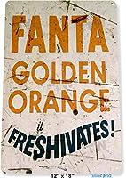 Shimaier ブリキ 看板 壁の装飾 メタルサイン Fanta Golden Orange Soda Cola Can Drink Art Store ウォールアート バー カフェ 30×40cm ヴィンテージ風 メタルプレート