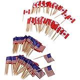 FLAMEER ケーキトッパー カップケーキ飾り 国旗 装飾フラグ 食品装飾 誕生日 パーティー 料理店アメリカ 全2パタン - アメリカ+カナダ