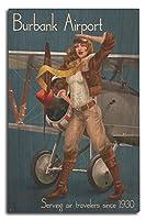 バーバンクAirport、カリフォルニア–Aviator Pinup Girl 10 x 15 Wood Sign LANT-56764-10x15W