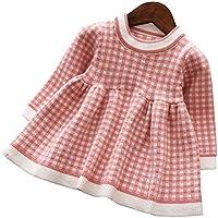 Mornyray ベビー服 ワンピース ドレス ニット 長袖 チェック柄 子供服 暖か 厚手 おしゃれ 女の子 幼児 0-4歳 size 80 (ピンク)