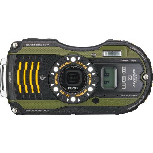 PENTAX 防水デジタルカメラ PENTAX WG-3GPS グリーン 1cmマクロ マクロスタンド付属 電子コンパス サブLCD Qi規格 PENTAX WG-3GPSGR 12663